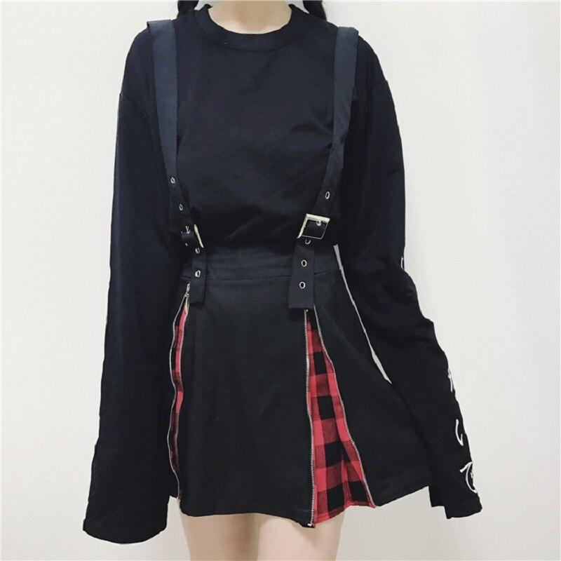 Punk Rock Skirts Women Harajuku Lattice Zippers Splice Lolita High Waist Back Skirt With Strap