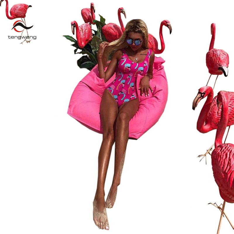 a6bb7db5f6ca5 Tengweng 2019 New Sexy Flamingos Print Women One piece Swimsuit Plus size  Swimwear Push up Thong Brazilian Female Bathing suit
