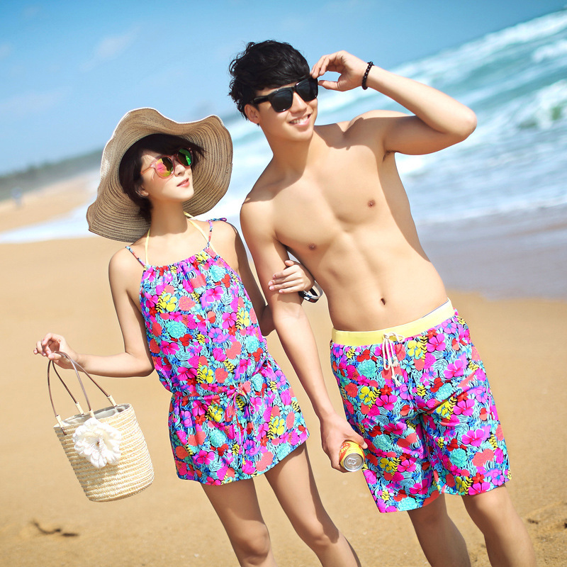 Sexy Couples Swimwear Print Floral Bikinis Set Hot Lovers Beach Spa Swimsuit Women Three Piece Push Up Bathing Suits Men Shorts sexy couples swimwear print floral bikinis set hot lovers beach spa swimsuit women three piece push up bathing suits men shorts
