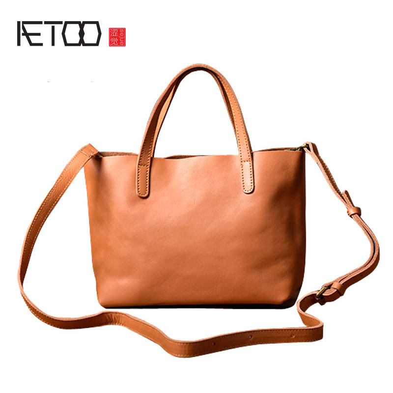AETOO The first layer of soft cowhide handbag simple wild small Tote commuter shoulder diagonal package art Fan pure leather bag qiaobao 2018 new korean version of the first layer of women s leather packet messenger bag female shoulder diagonal cross bag