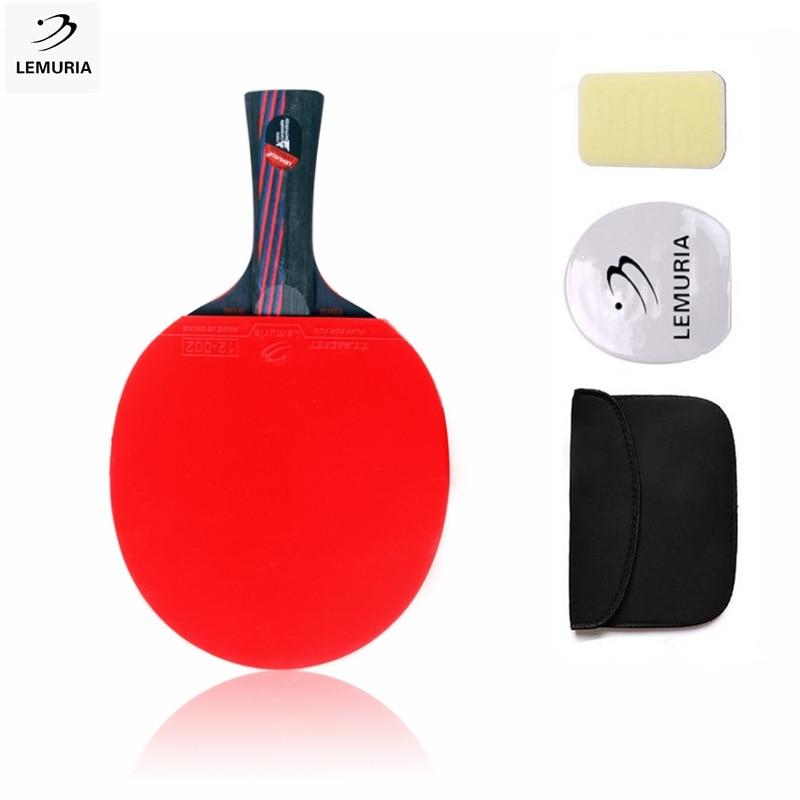 Spor ve Eğlence'ten Masa Tenisi Raketleri'de Lemuria 9.8 hibrid ahşap masa tenisi raketi çift sivilce in lastik ping pong raket bıçak karbon fiber raket title=