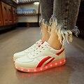 2017 Красный саржевого Корзины Свет ДО Обуви Мужская Обувь Led Schoenen Случайные люди Lumineuse Chaussures Homme Световой Унисекс Для Взрослых