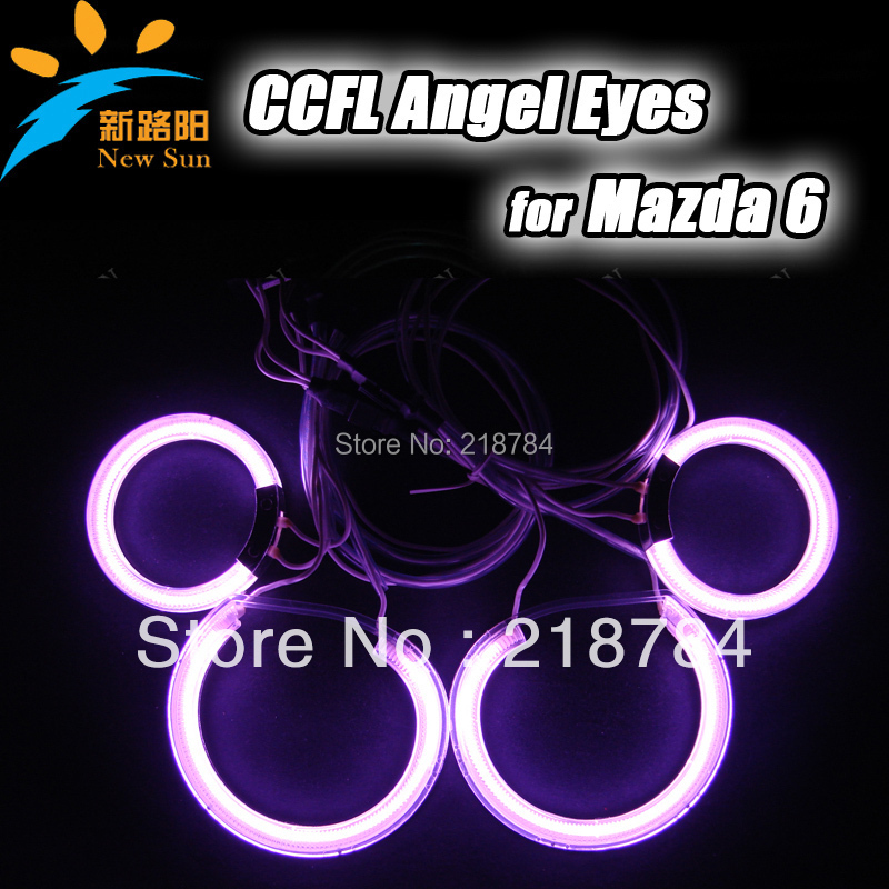super bright colorful CCFL Angel Eyes Kit Halo Ring For Mazda6 Headlamp with 2 inverters