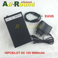 Wholesale 10PCS LOT EU US Plug DC 12V 9800mah Rechargeable Li Ion Lithium Battery Batteries For