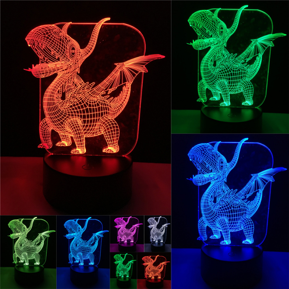 Luminaria Novelty Pterosaur 3D Dinosaur LED Visual 7 Color Gradient Night Light Table Bedroom Bedside Lamp Child Baby Toy Gift nba star 7 color lamp 3d visual led