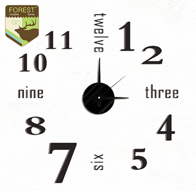 New 3d diy wall clock watch modern english letter digital home decor quiet wall clocks designer