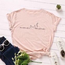 Plus Size S-5XL Lovely Cat Print T Shirt Women 100% Cotton O Neck Short Sleeve Summer T-Shirt Tops Casual Tshirt Women Shirts 4