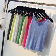 Sexy Knitted Top Tank Women V Neck Sleeveless Vest T Shirt Summer Ladies Slim Strap Short Tops  Camisole