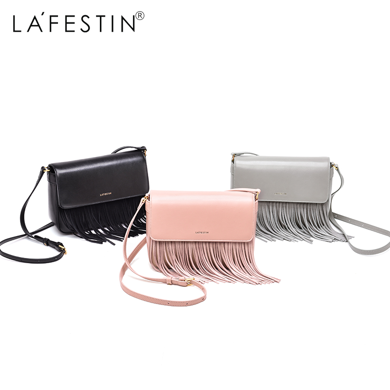 LA FESTIN Bag 2017 Female New Tide All-match Diagonal Square Leather Fringed Shoulder Bag Women Leisure Bags Zipper Satchels ba the new spring and summer 2017 singles simple japanese variety diagonal bag bag leisure all match original bag