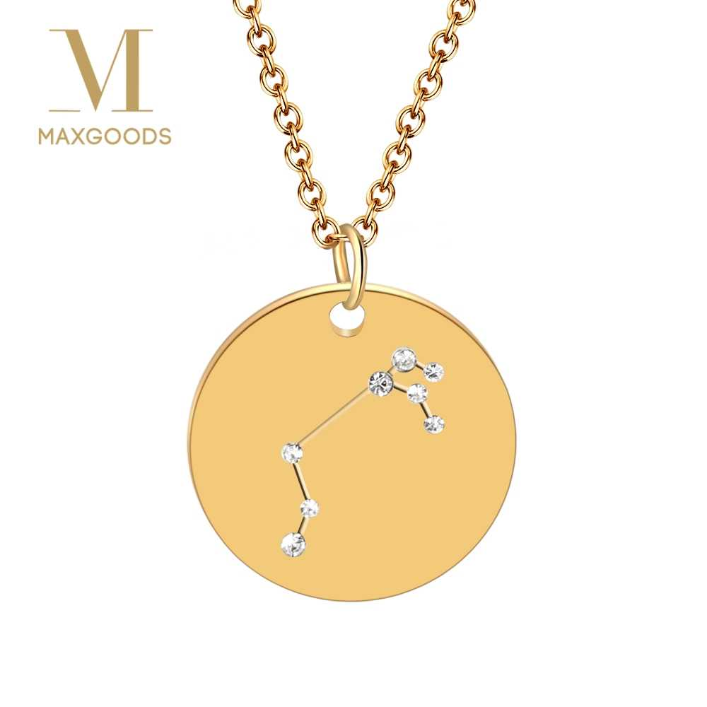 1 Pcs Fashion Stainless Steel Crystal Zodiac Pendant Necklace for Women Gold Choker Birthday Personality Necklace bijoux