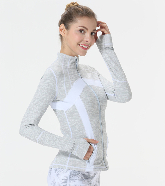 Women's Melange Grey Yoga / Gym Zipper Long Sleeve  S-3XL