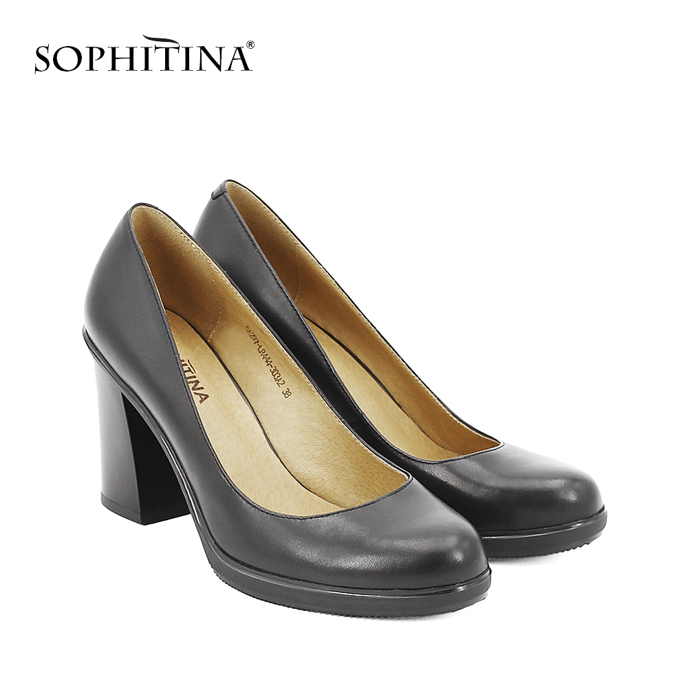 SOPHITINA Elegant Lady Pumps High Quality Genuine Leather Round Toe High Thick Heels Platform Party Office