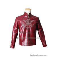 Smallville Clark Kent Cosplay Costume Red Artificial Leather Jacket Coat Superman Superhero Male Adult Version Halloween Party
