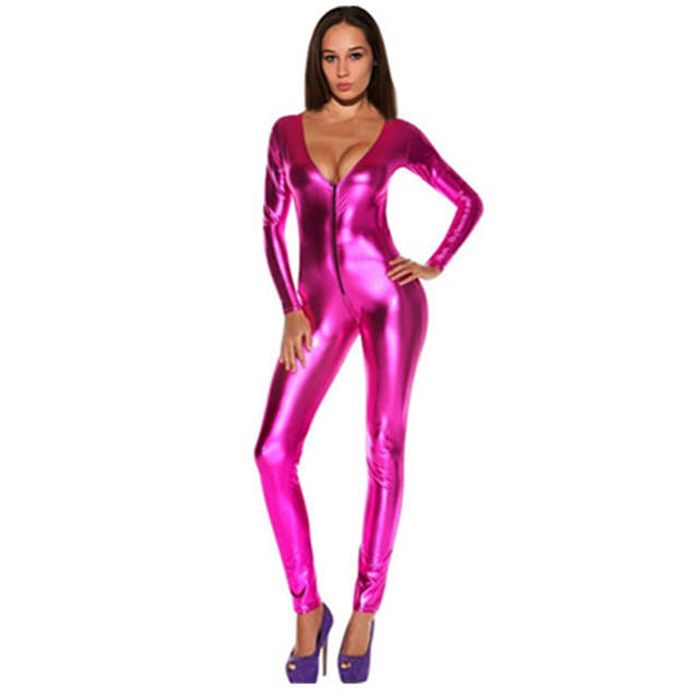 66fa52c1c1 Online Shop Sexy V Neck Shiny Gold Jumpsuit For Women Faux Leather Bodysuit  Zipper Open Crotch Erotic Latex Catsuits Night Culb Dance Wear