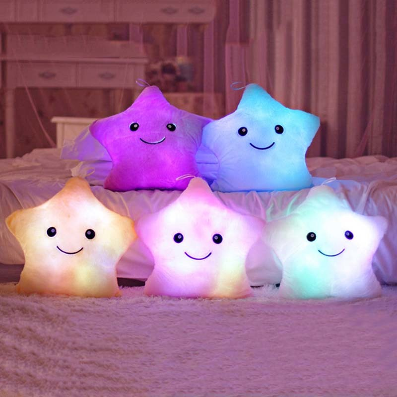 2017 Colorful Cute Luminous Pillow Christmas Toy Led Light Plush Pillow Stars Kids Dolls Stuffed Toys for Children Birthday Gift cute hedgehog animal doll stuffed plush toys birthday christmas gift for children baby kids friend creative kids triver toy