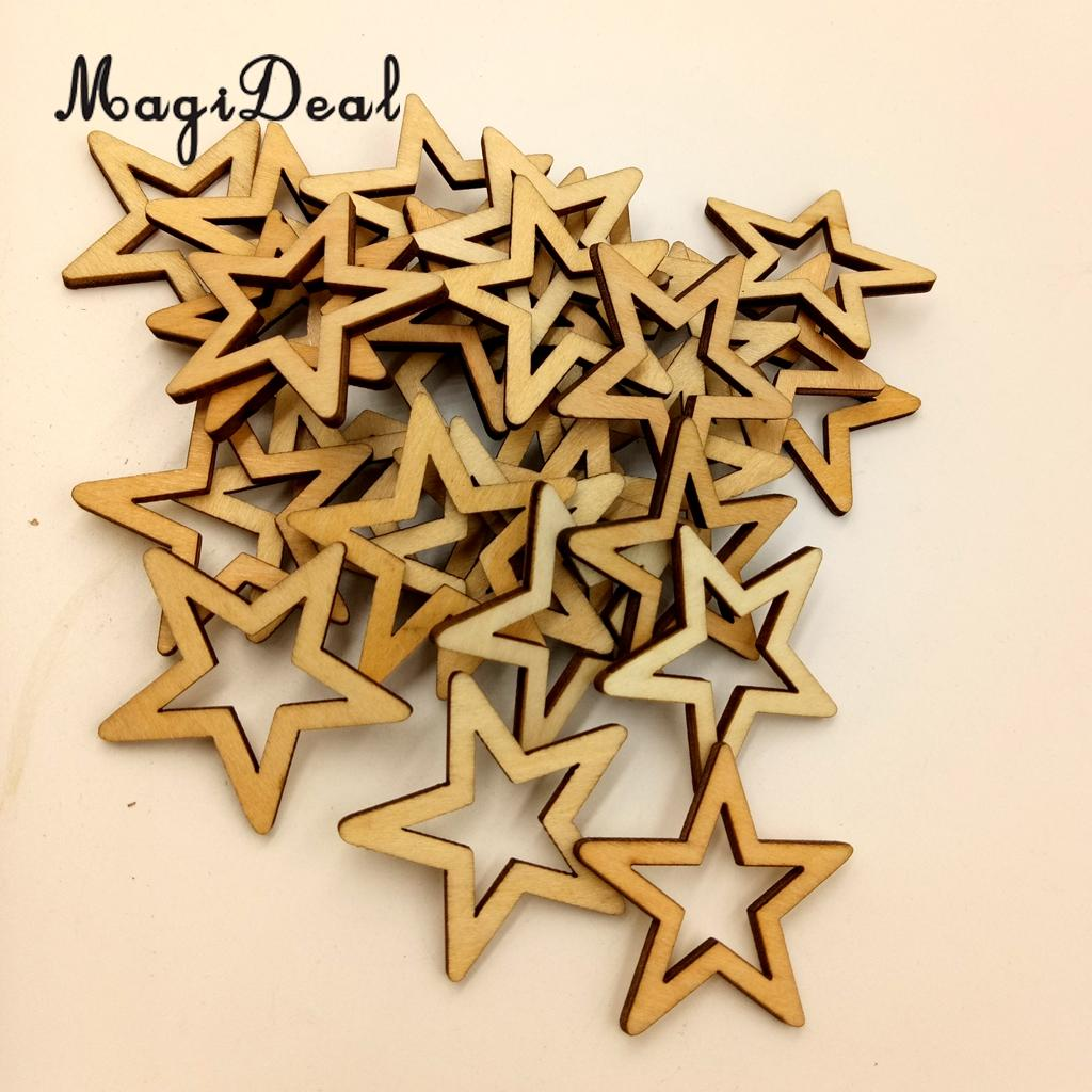 MagiDeal Delicate 50/30/25Pcs Unfinished Hollow Star Shape Wooden Embellishments for Wed ...