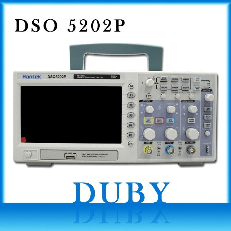 DSO5202P Hantek oscilloscopio a memoria Digitale USB 200 MHz 2 Canali 1GSa/s 7 ''TFT LCD Lunghezza Record 40 K USB AC110-