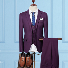 Jacket Vest Pants Classic Mens Suits Wedding Groom 3 Pieces Slim Fit Casual Tuxedo Suit