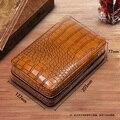Caja de cigarros COHIBA humidificador para 4 cigarros de madera de cedro forrado de cuero de viaje humidificador conjunto de caja de regalo (No más ligera)