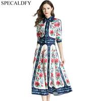 Floral Print Vintage Pleated Shirt Dress Women Summer Dress Runway Designer Dresses High Quality Women Fashion 2018 Robe Femme