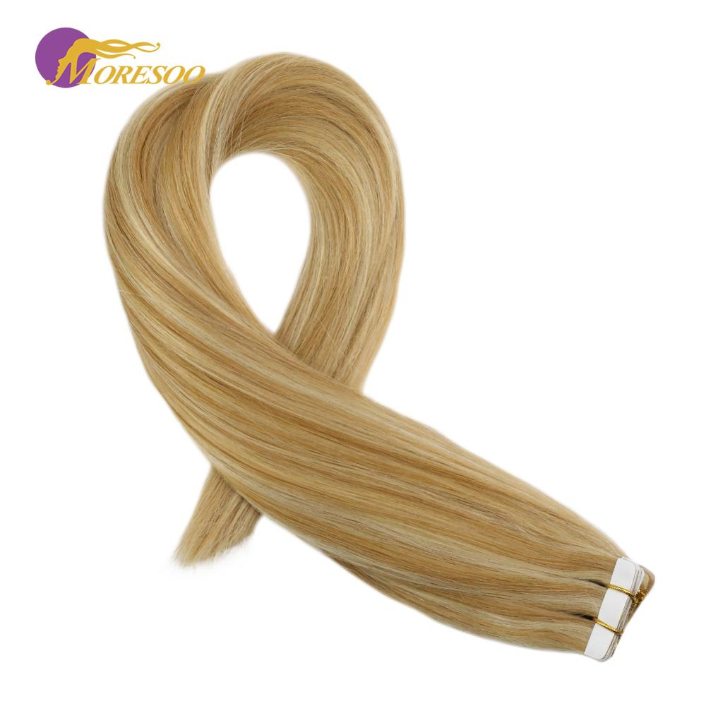 Moresoo 14-24 Inch Tape In Human Hair Extensions Remy Hair #14 Mixed With Blonde #613 Skin Weft 2.5g/pcs Brazilian Natural Hair