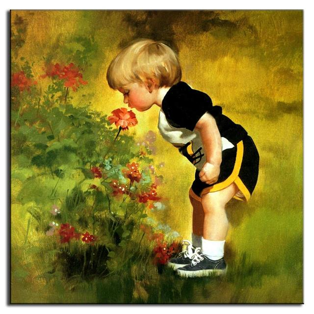 Modern Wall Painting Baby Boys and Flowers Mediterranean Style ...