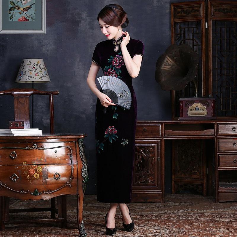 الأزياء المخملية شيونغسام اللباس التقليدي الصيني تشيباو فساتين السهرة الطويلة رداء chinoise خمر رسمت باليد الزهور تشى باو