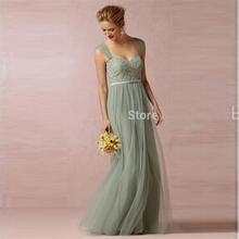 2016 Summer Sage Lace Long Cheap Bridesmaid Dresses For Weddings A Line Sexy Sweetheart China Made Cheap vestido madrinha