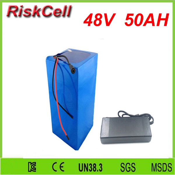 Free  shipping 50A discharge rate   LIthium battery 48V 50Ah 18650 Rechargeable Li-ion Battery Pack with 2000W BMS and charger free customs taxes high quality skyy 48 volt li ion battery pack with charger and bms for 48v 15ah lithium battery pack