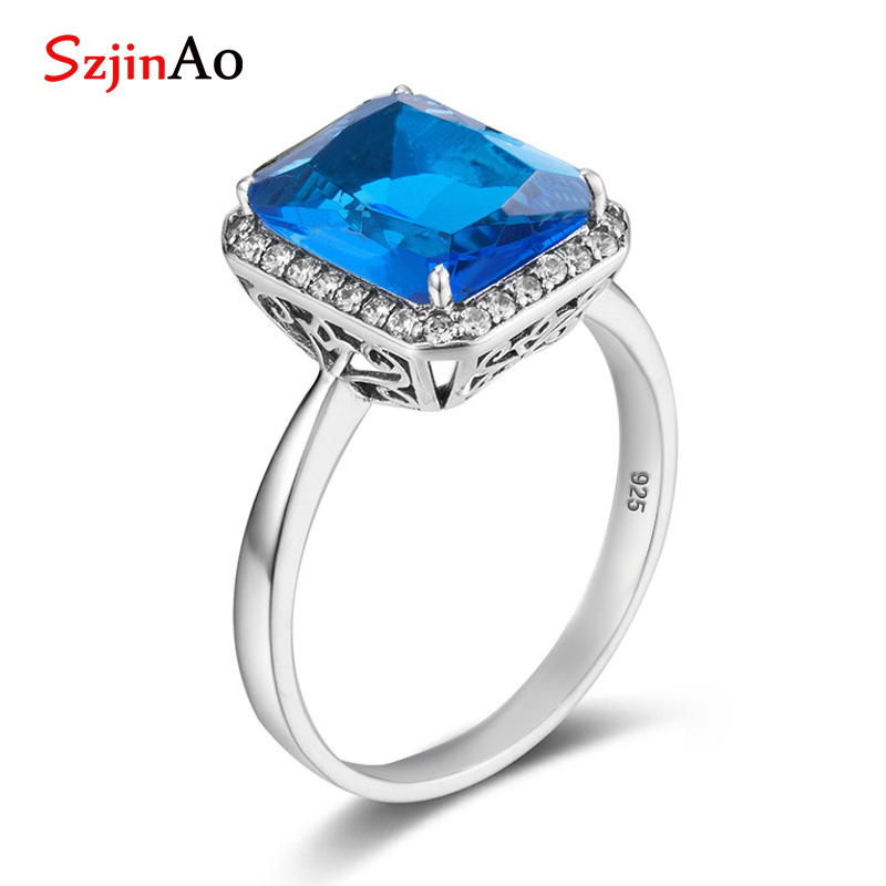 Szjinao handmade 925 sterling silver Big Blue topaz rings Unisex gemstone jewelry punk best selling 2018 products for women men