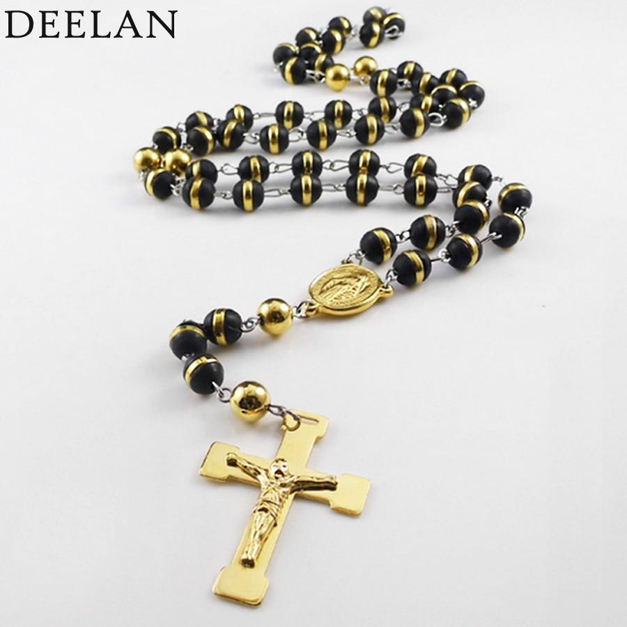 Мода Для Мужчин's Ожерелья для мужчин четки крест кулон ювелирные украшения из золота Тон черный Нержавеющаясталь Мария Иисус Бусины Strand Ц…