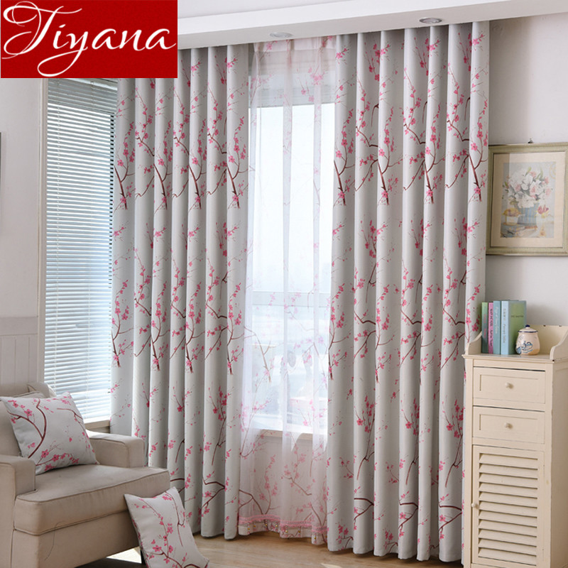 Chinese Rural Curtains Pink Cherry Blossoms Curtains Voile Window Yarn  Living Room Bedroom Curtains Cloth Tulle