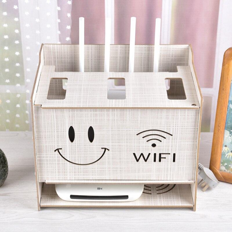 Belle sourire visage câble boîte de rangement sans fil Wifi routeur boîte bois-plastique étagère support câble stockage décor à la maison