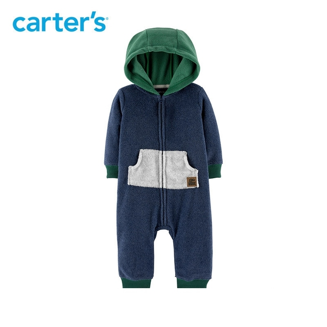 4f1915cf7e86 1pcs Cute kangaroo pocket Zip Up Hooded Fleece Jumpsuit Carter s ...