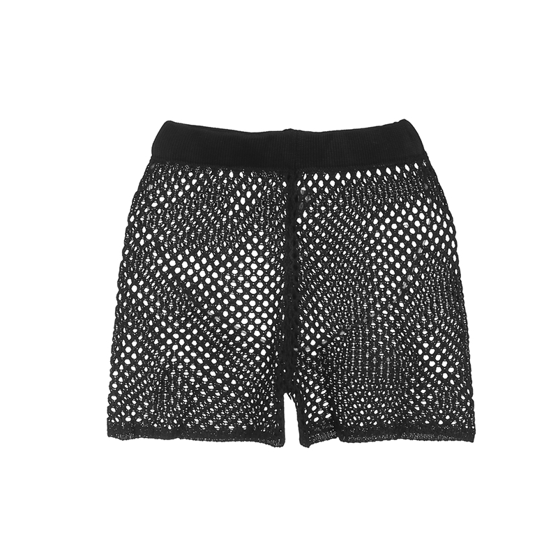 Women's Hollow Out Crochet Fishnet   Shorts   Beachwear Solid Black White 2Colors Hot Sale