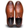 2016 Nuevo de Alta Calidad de Cuero Genuino Hombres Zapatos Brogues, Cordones Bullock Hombres Oxfords Zapatos de Los Hombres Zapatos de Vestir de Negocios A1148