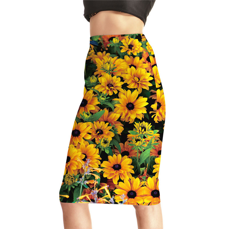 New Arrival Summer Skirt Women 3d Yellow Daisy Print Mid Length Tight Skirts Female Polyester Package Hip Skirts S-4XL Dropship