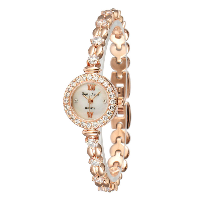 Prong Setting Royal Crown Mini Women's Watch Japan Quartz Jewelry Hours Fine Fashion Crystal Luxury Rhinestones Girl's Gift prong setting women s watch japan quartz shell hours clock fine fashion dress jewelry twining bracelet luxury crystal girl gift