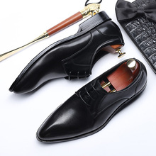 QYFCIOUFU Genuine Cow Leather Pointed Toe Men's Fashion Dress Shoes Oxfords Black Wine Red Luxury Designer Lace-up Suit Shoes