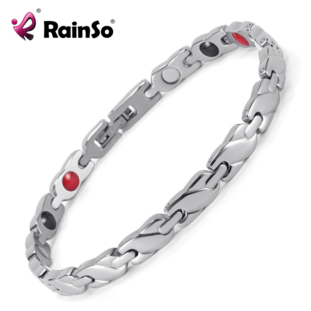 Rainso New Jewelry Women's 4 Health Care Elements (Magnetic,FIR,Germanium,Negative ions) 316L Stainless Steel Bracelet  OSB-1550