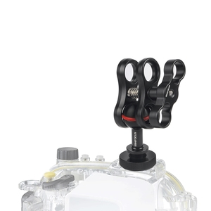 """Image 3 - Cold Shoe Mount Adapter Connector 1"""" Ball to Hot Shoe with Butterfly clip Ball Clamp for Underwater camera Diving housing case"""