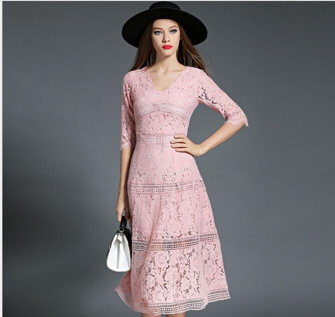 Femmes robe vente complet livraison gratuite femme 2019 nouveau européen Ol début automne élégant tempérament dentelle ajouré robe haut de gamme
