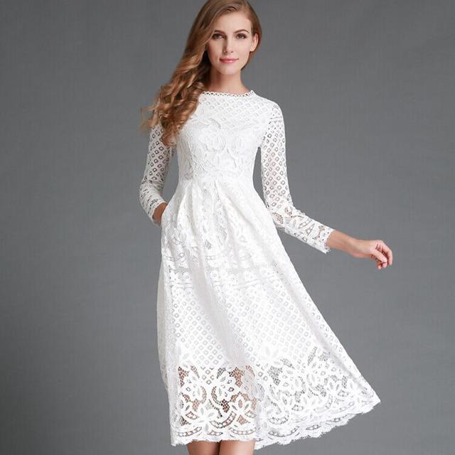 2017 Nueva Primavera Verano de Las Mujeres vestido Largo de Encaje Blanco Elegante Del Cordón Ahueca Hacia Fuera Manga Larga Oficina Casual vestidos de Fiesta Vestidos