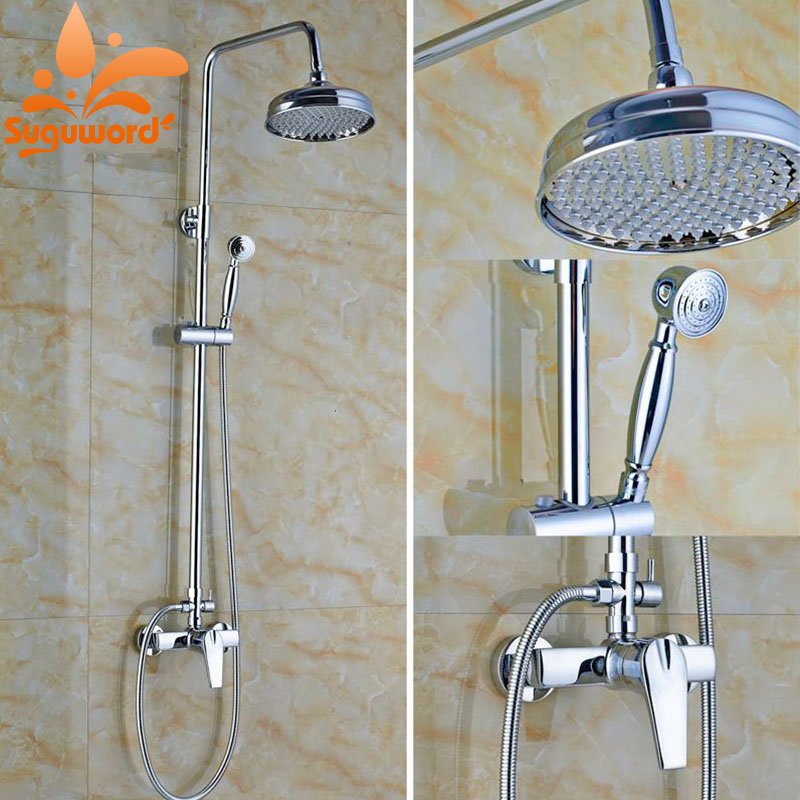 Modern Rainfall Shower Faucet Set W/Hand Sprayer Wall Mount Chrome Finish Shower Mixer Tap luxury temperature control thermostatic shower faucet set wall mount 8 rainfall shower set mixer tap