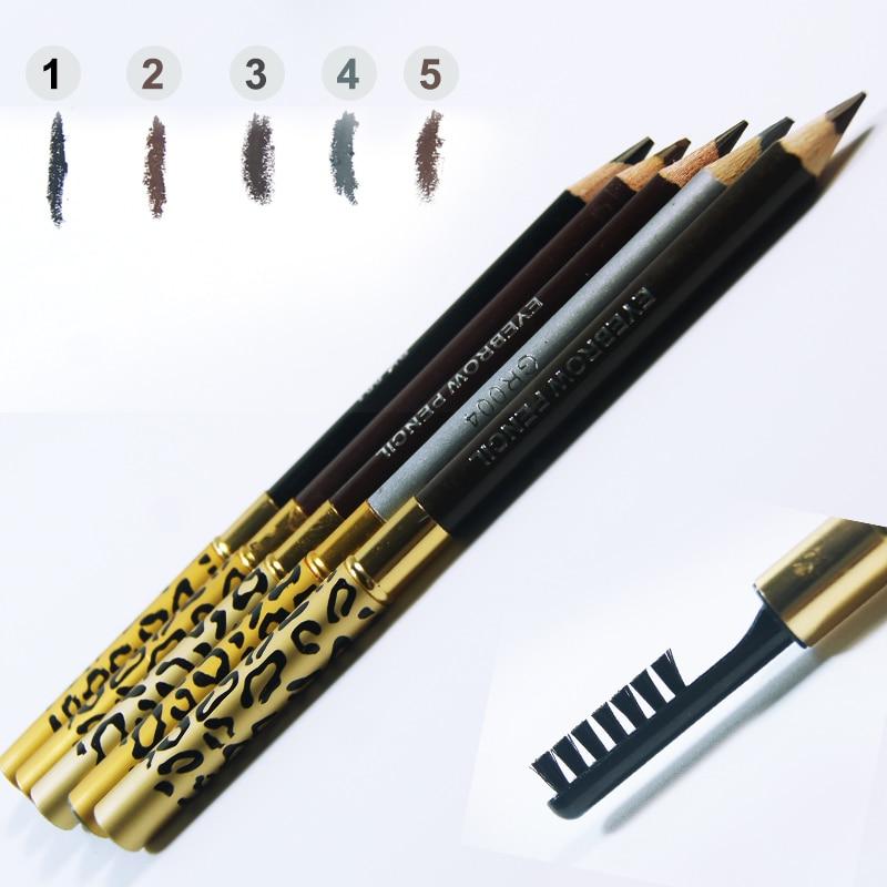 1 PCs New Mulheres Lady Dupla-use À Prova D' Água Marrom Leopardo Preto Cosméticos Maquiagem Caneta Lápis de Sobrancelha Com Escova