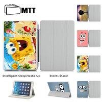 Nowy Gorący Drukowane SpongeBob Wzór Pokrywy Skrzynka Dla iPad 5 6 Air 2 Ultra Thin PU Leather Inteligentne Uśpienia/Wake Stań Ochronna przypadku