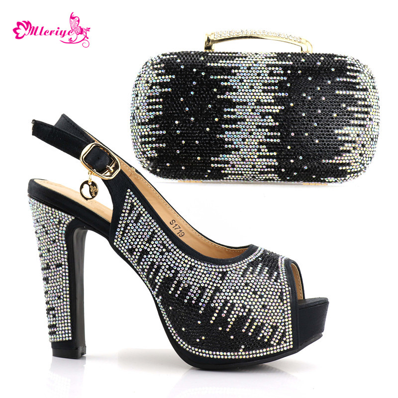 1719 African Sets black Color Italian Shoes with Matching Bags High Quality Women Shoe and Bag To Match for Parties 2017 italian shoes with matching bags to match wine color new african shoes and matching bag sets for party 1703v0322d30 10
