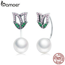 BAMOER 100% 925 Sterling Silver Luminous Crystal CZ Flower Petal Drop Earrings for Women Fashion Earrings Silver Jewelry SCE303(China)