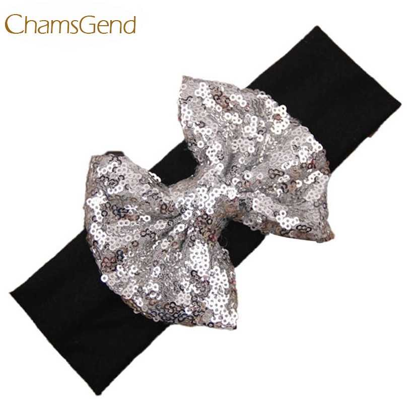 Newly Design Baby Girl Bling Bling Shining Headbands Elastic Hair Bands Kids Children Sequins Bow Hair Accessories Aug4