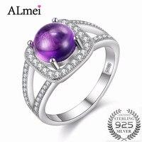Almei 40 Off Wedding 2CT Amethyst Gemstone Rings Female 925 Sterling Silver Ring For Women Diamond